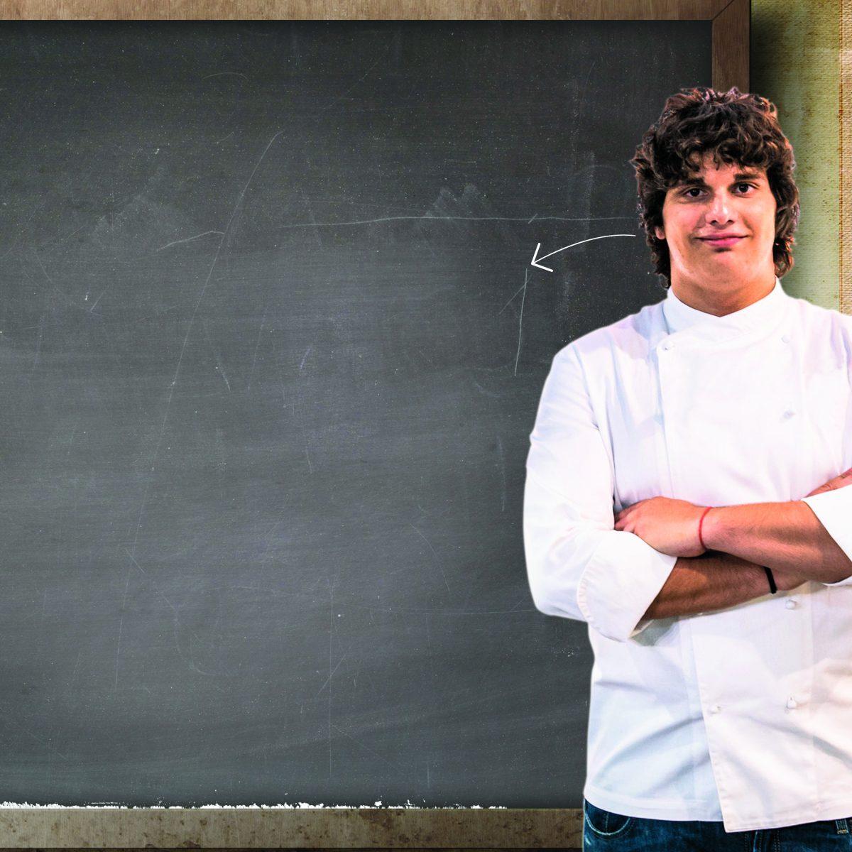 La ricetta di Valerio Braschi: gamberi rossi, puntarelle e ricci di mare