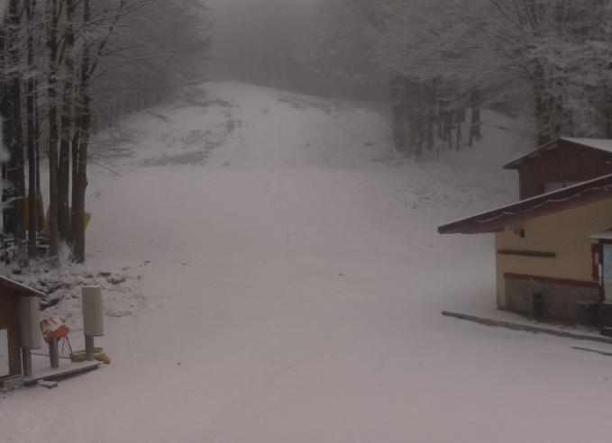 Pazza primavera, a Campigna torna la neve: termometri a -3°