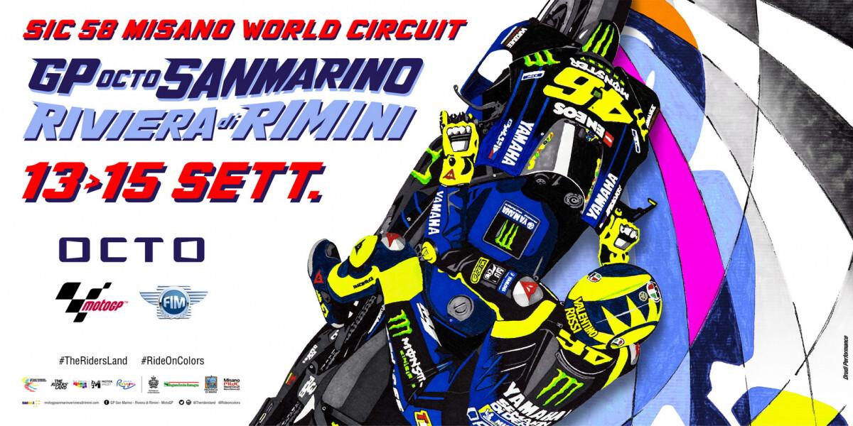 Motogp, il poster della gara di Misano omaggio ai 40 anni di Vale Rossi