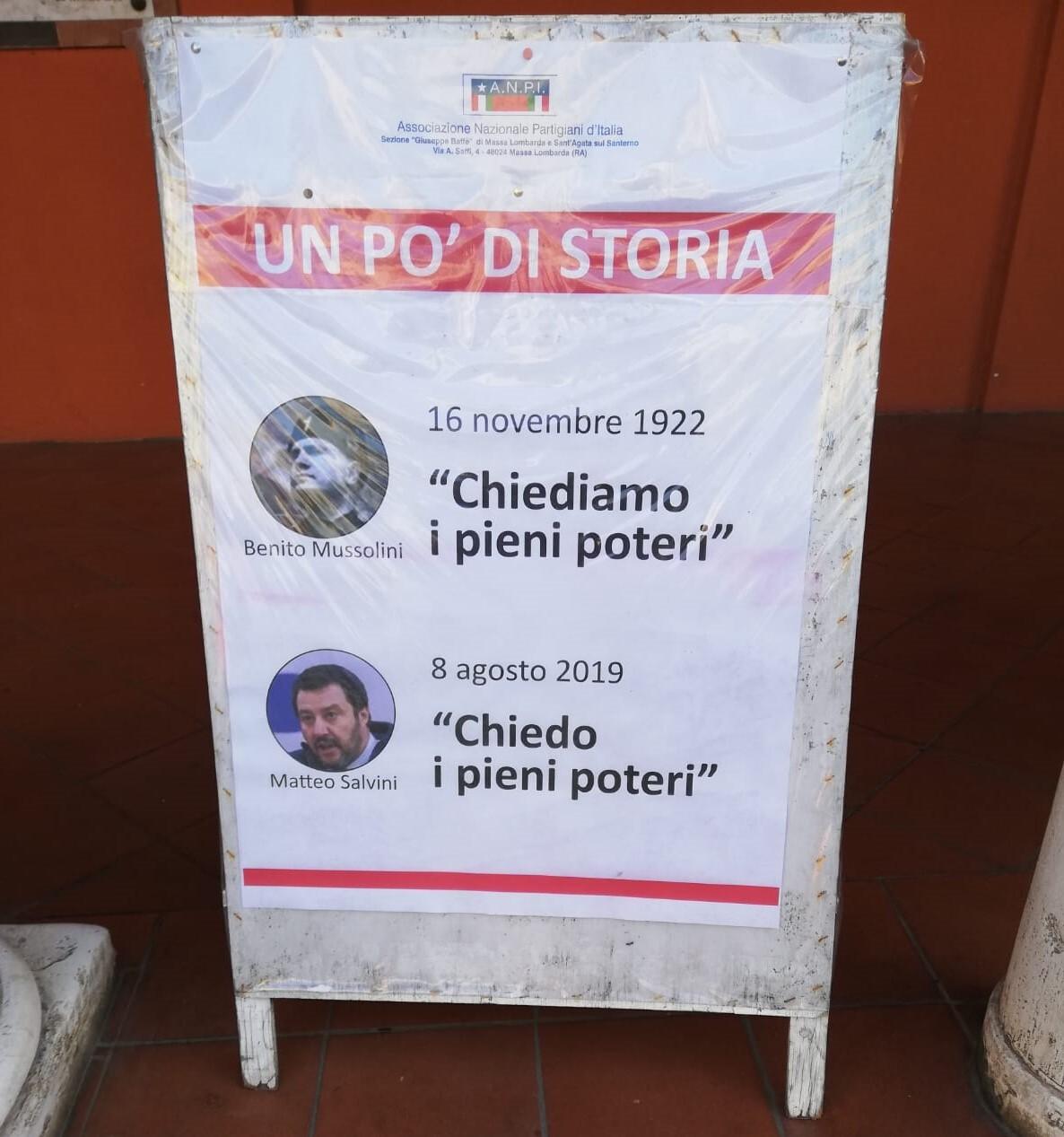 """""""Salvini come Mussolini"""" polemiche per manifesto Anpi a Massa Lombarda"""