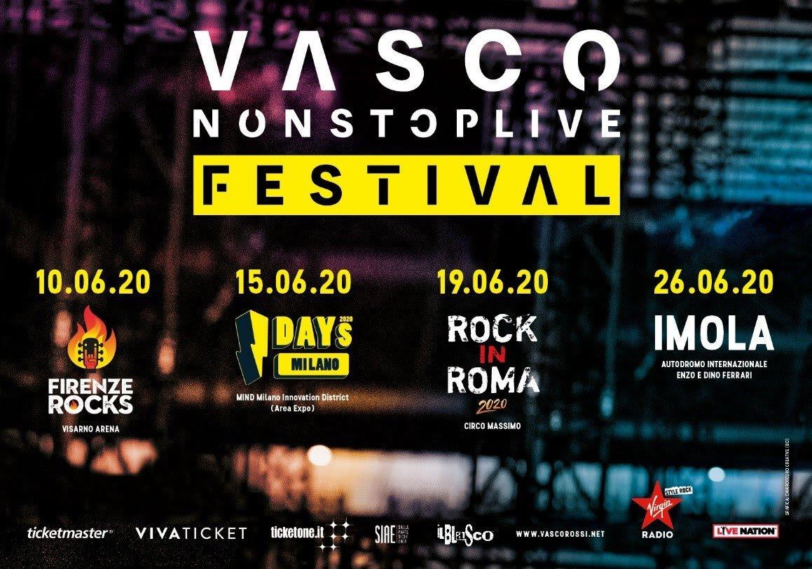 Non Stop Festival di Vasco Rossi, il 26 giugno a Imola
