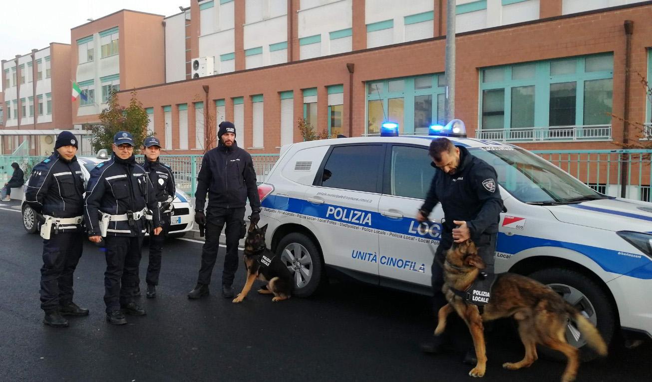 Rimini nord, controllo del territorio con i cani contro il degrado