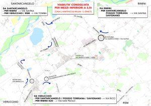 Chiusura ponte Verucchio, la mappa dei percorsi consigliati
