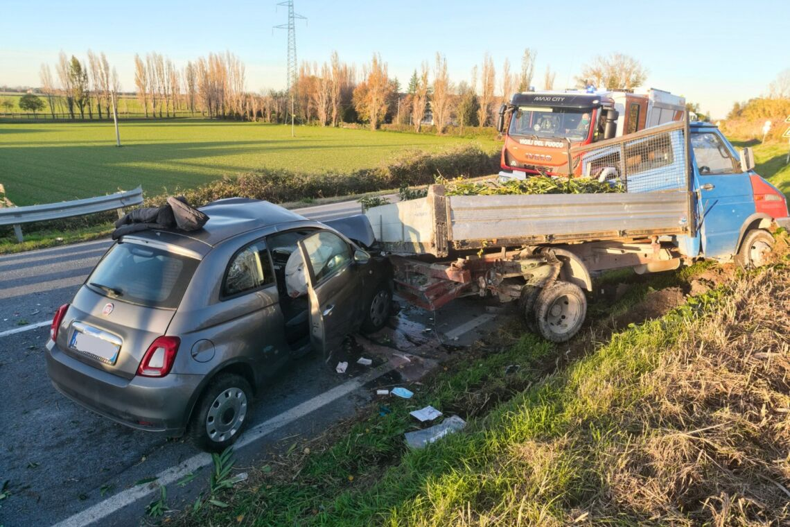L'incidente in via Ravegnana a Longana