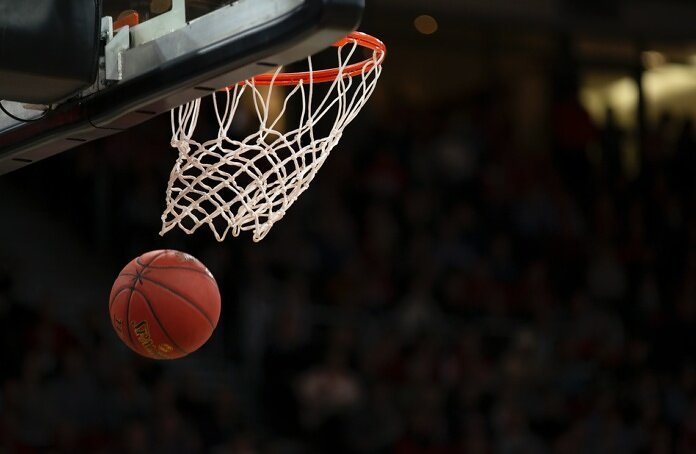 ball under basketball ring
