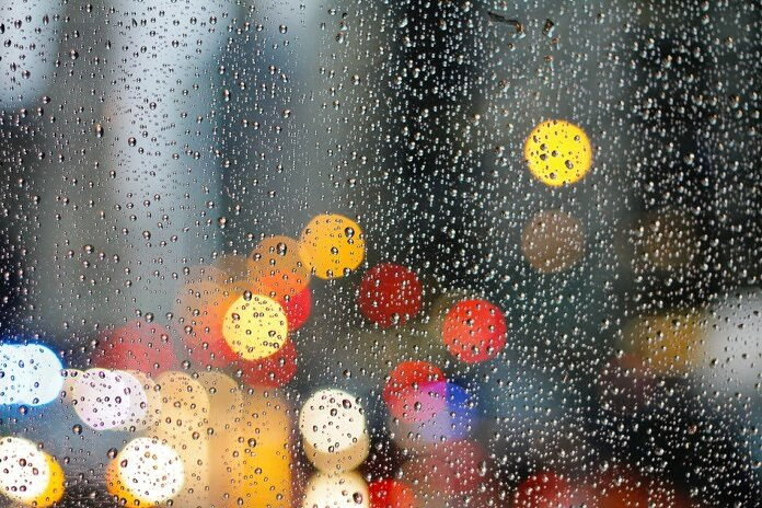 droplets on glass panel