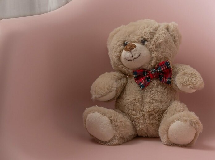 brown bear plush toy on pink chair